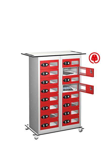 Probe 16 doors red trolley tabbox charging locker
