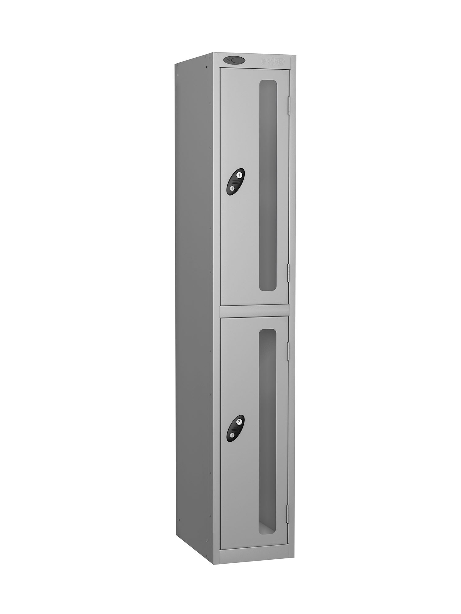 Probe 2 doors vision panel anti-stock theft locker silver