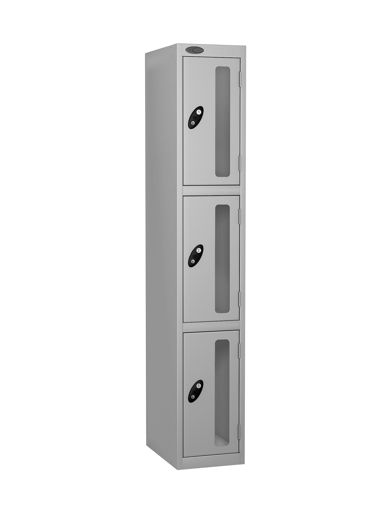 Probe 3 doors vision panel anti-stock theft locker silver