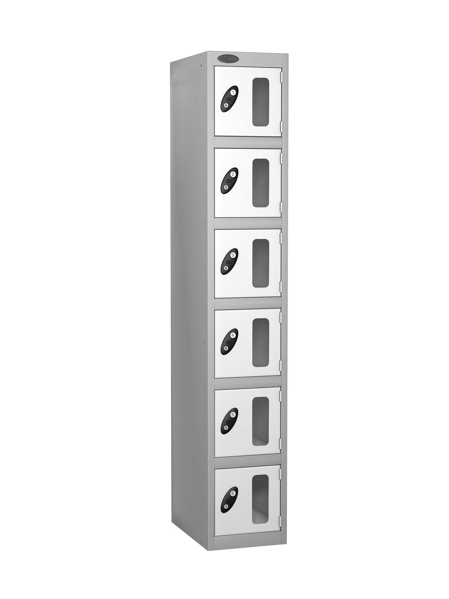 Probe 6 doors vision panel anti-stock theft locker white