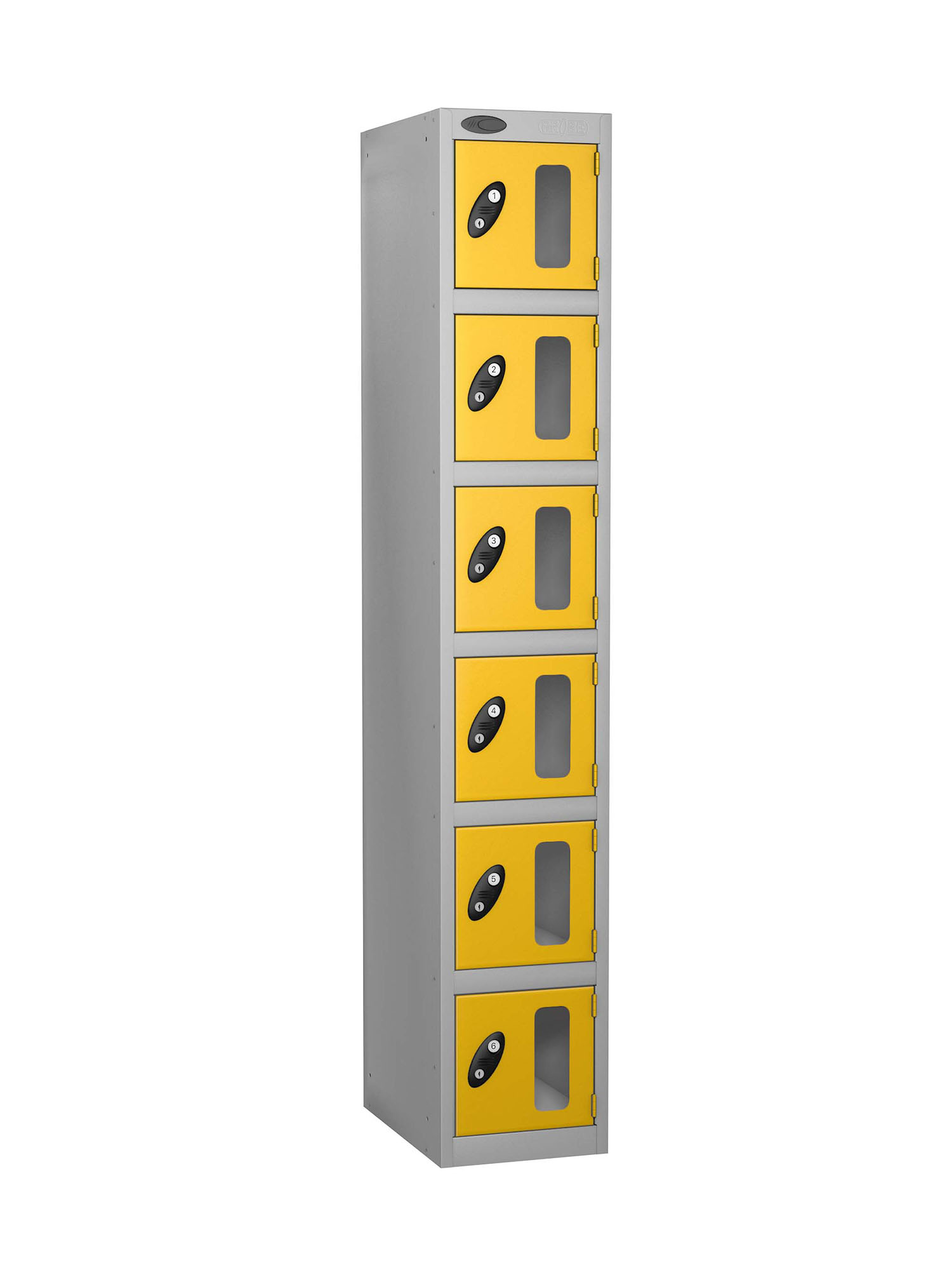 Probe 6 doors vision panel anti-stock theft locker yellow
