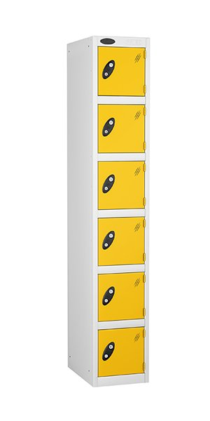 Probe 6 doors steel locker yellow