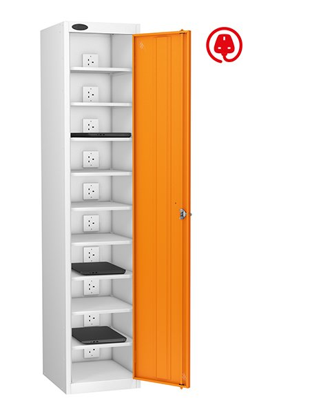 Probe orange lapbox locker with 10 compartments for laptop charging