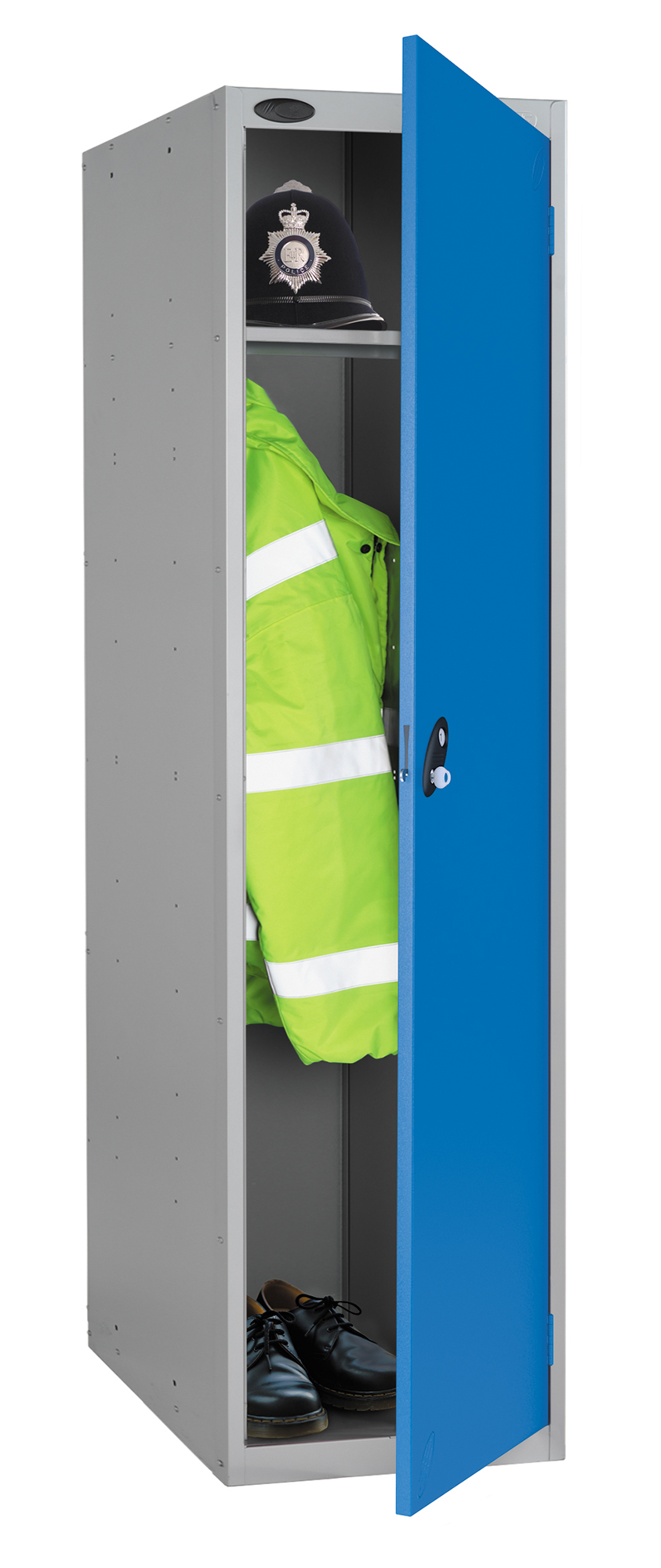Probe high capacity police locker in blue colour is designed to accommodate personal body armor