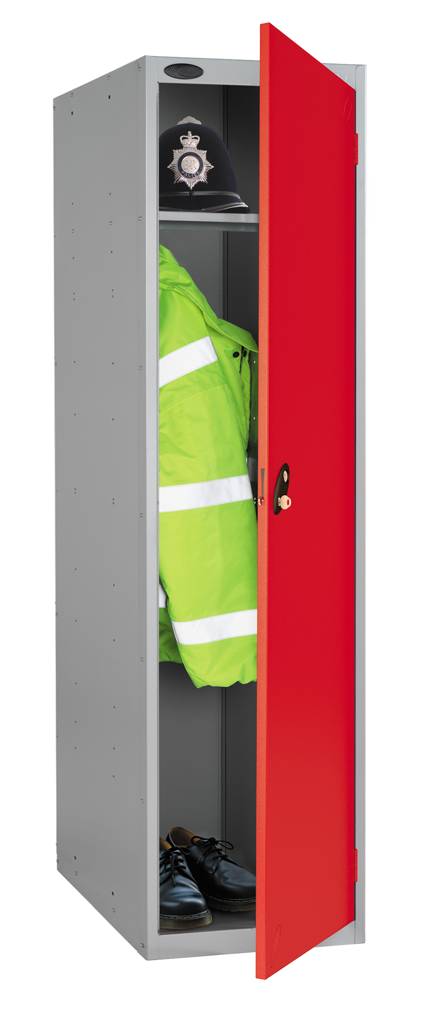 Probe high capacity police locker in red colour is designed to accommodate personal body armor