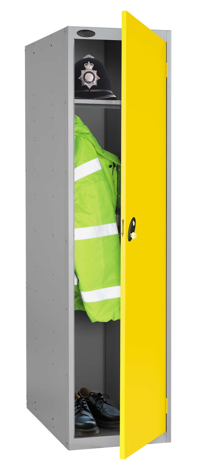 Probe high capacity police locker in yellow colour is designed to accommodate personal body armor