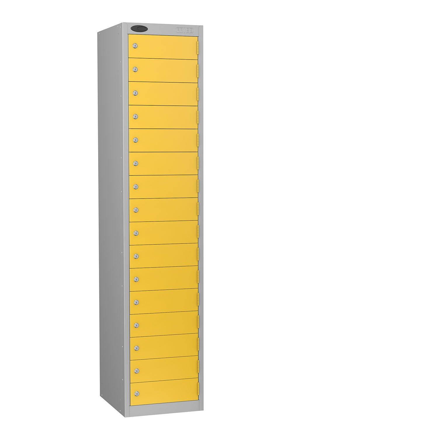 Probe 16 doors small compartments lockers in yellow colour