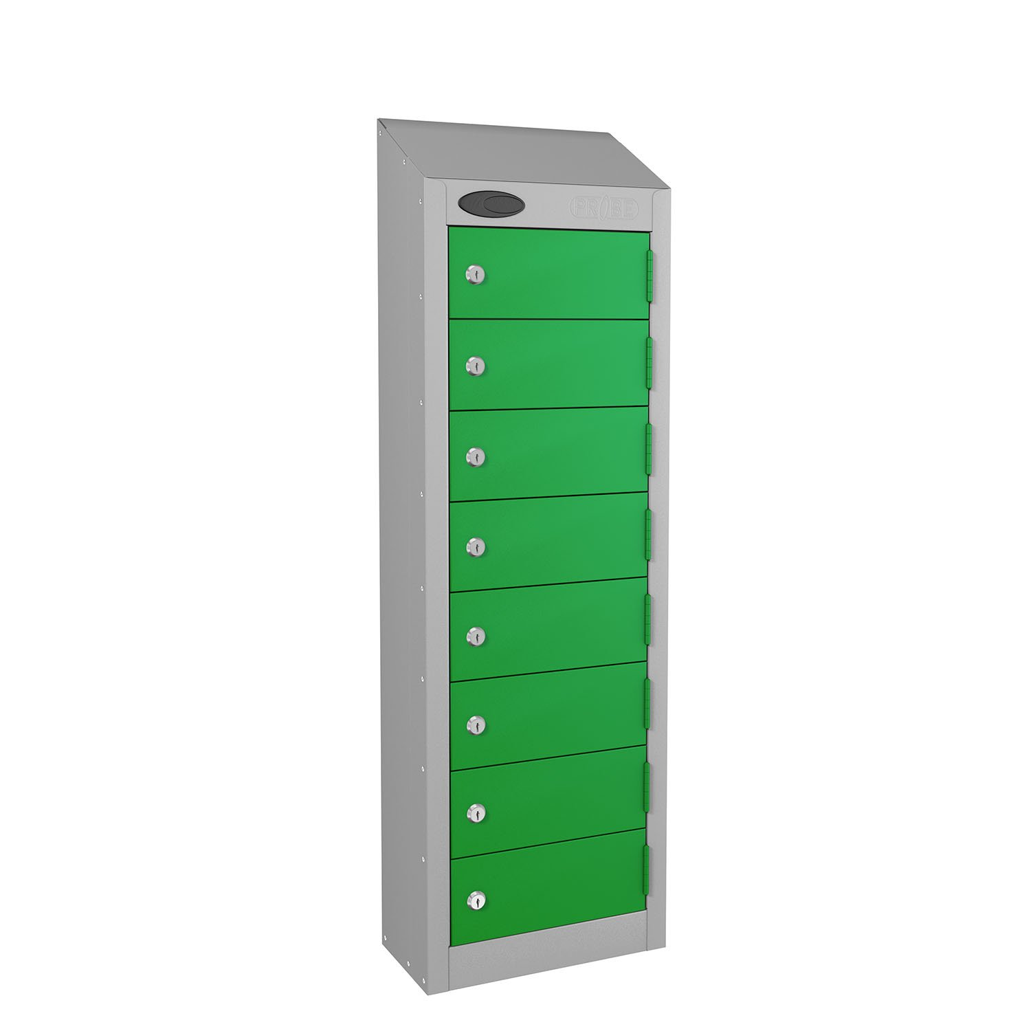 Probe 8 doors small compartment personal lockers in green colour