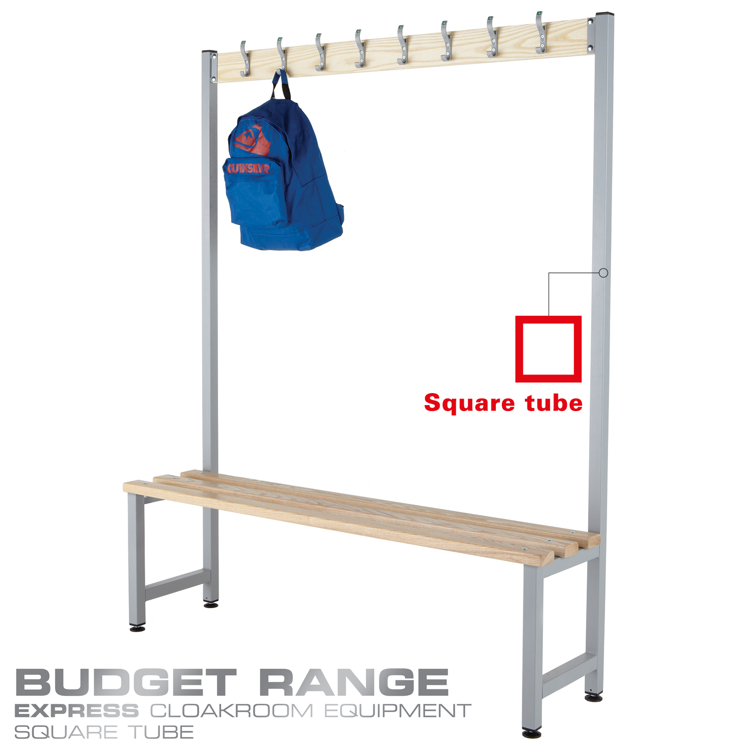 Probe cloakroom single wood bench with hooks in budget range