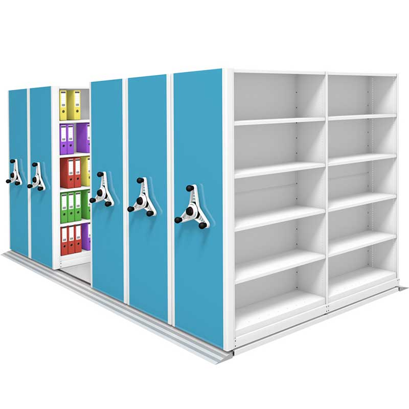 White rack and blue end panel in proble kinetic mobile shelving