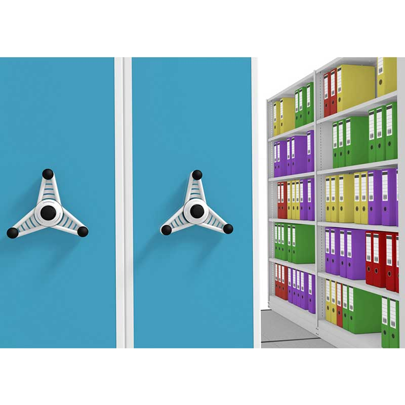 Hand wheel and blue end panel in probe kinetic mobile shelving