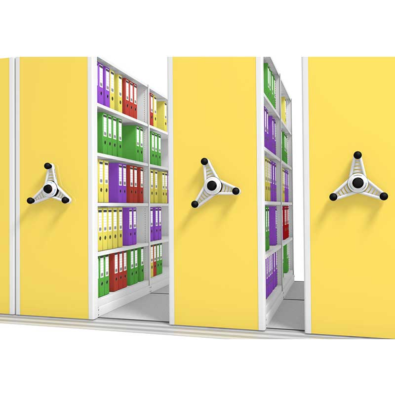 Yellow end panel in probe kinetic mobile shelving